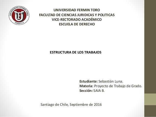 UNIVERSIDAD FERMIN TORO FACULTAD DE CIENCIAS JURIDICAS Y POLITICAS VICE-RECTORADO ACADÉMICO ESCUELA DE DERECHO ESTRUCTURA ...