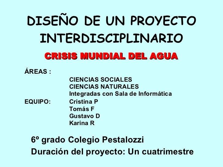 DISEÑO DE UN PROYECTO INTERDISCIPLINARIO <ul><li>ÁREAS : </li></ul><ul><li>CIENCIAS SOCIALES </li></ul><ul><li>CIENCIAS NA...
