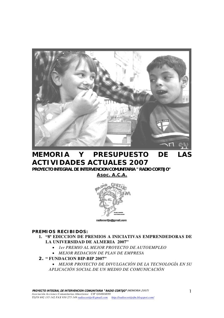 MEMORIA Y PRESUPUESTO                                                                         DE   LAS ACTIVIDADES ACTUALE...