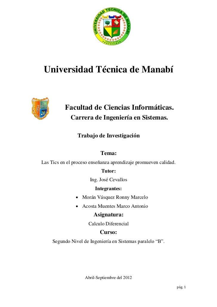 Universidad Técnica de Manabí           Facultad de Ciencias Informáticas.             Carrera de Ingeniería en Sistemas. ...