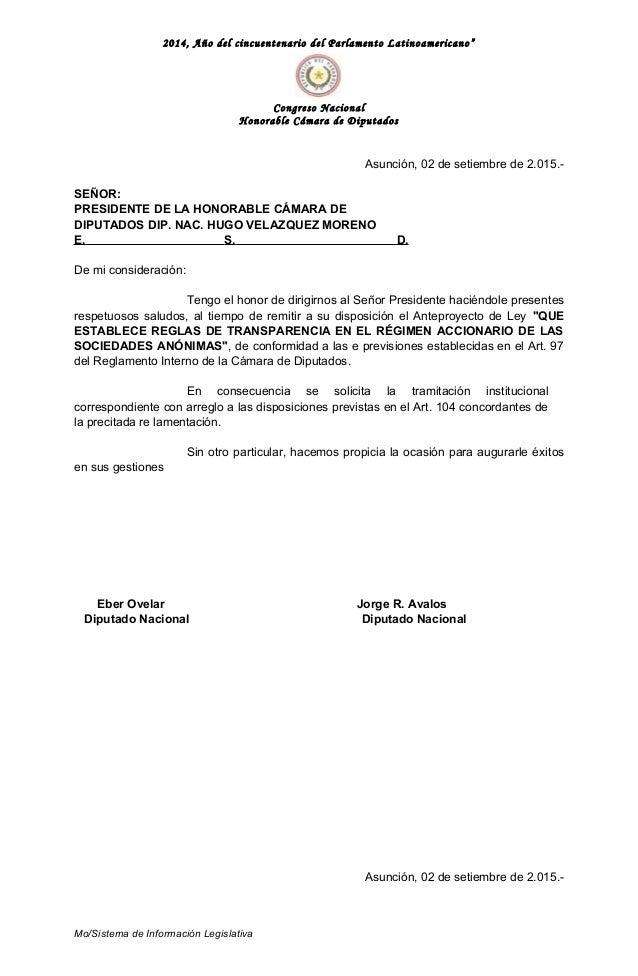 """2014, Año del cincuentenario del Parlamento Latinoamericano"""" Congreso Nacional Honorable Cámara de Diputados Asunción, 02 ..."""