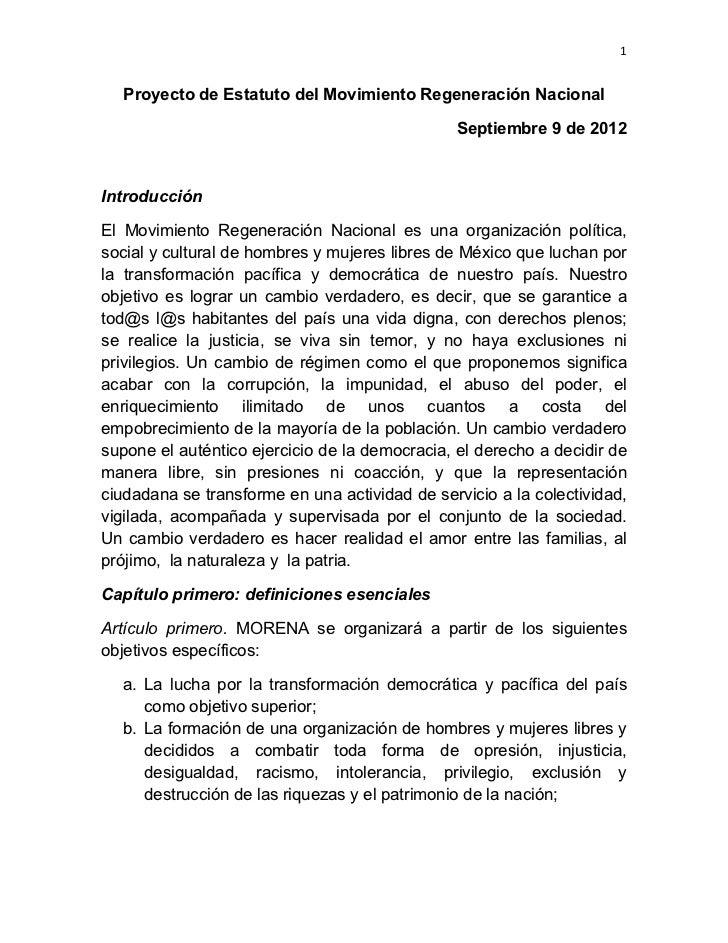 1    Proyecto de Estatuto del Movimiento Regeneración Nacional                                               Septiembre ...