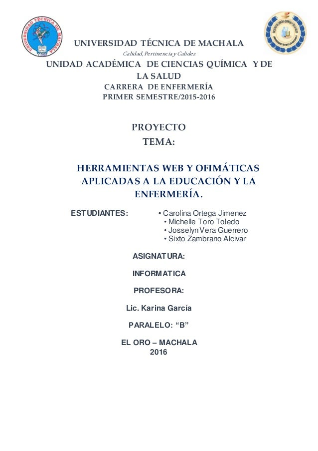 UNIVERSIDAD TÉCNICA DE MACHALA Calidad,PertinenciayCalidez UNIDAD ACADÉMICA DE CIENCIAS QUÍMICA Y DE LA SALUD CARRERA DE E...