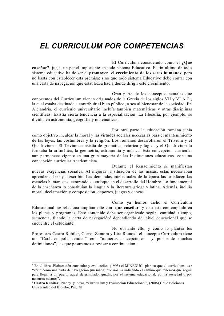 EL CURRICULUM POR COMPETENCIAS                                              El Currículum considerado como el ¿Qué enseñar...
