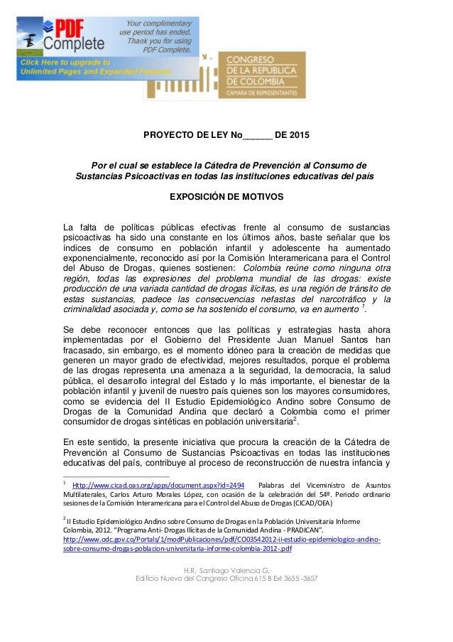 Proyecto de ley c tedra de prevenci n al consumo de for Oficina consumo santiago