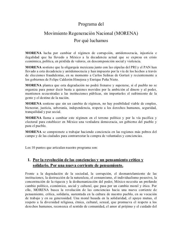Programa del             Movimiento Regeneración Nacional (MORENA)                                  Por qué luchamosMORENA...