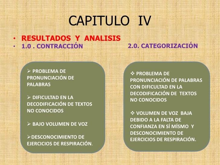 CAPITULO IV • RESULTADOS Y ANALISIS                                 2.0. CATEGORIZACIÓN • 1.0 . CONTRACCIÓN       PROBLEM...
