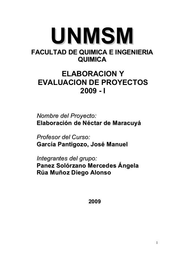 UNMSM  FACULTAD DE QUIMICA E INGENIERIA QUIMICA  ELABORACION Y EVALUACION DE PROYECTOS 2009 - I Nombre del Proyecto: Elabo...