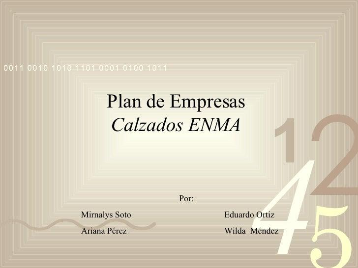 Plan de Empresas Calzados ENMA Por: Mirnalys Soto Eduardo Ortiz Ariana Pérez Wilda  Méndez