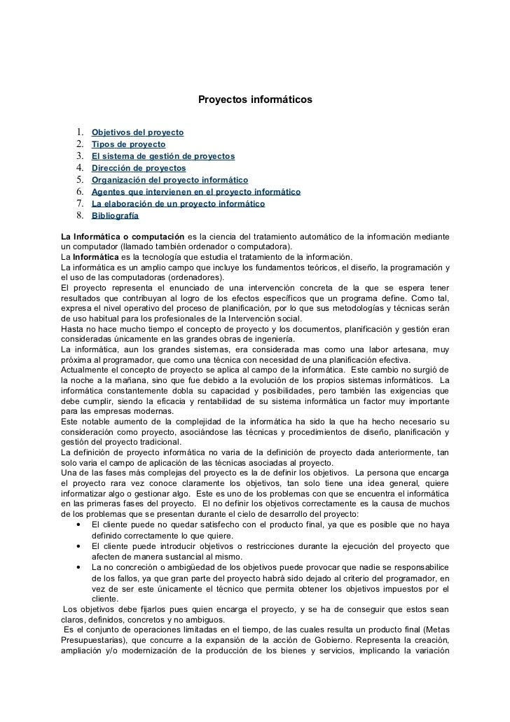Proyectos informáticos    1.   Objetivos del proyecto    2.   Tipos de proyecto    3.   El sistema de gestión de proyectos...