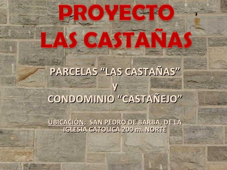 """PARCELAS """"LAS CASTAÑAS"""" y CONDOMINIO """"CASTAÑEJO"""" UBICACIÓN :  SAN PEDRO DE BARBA, DE LA IGLESIA CATOLICA 200 m. NORTE"""