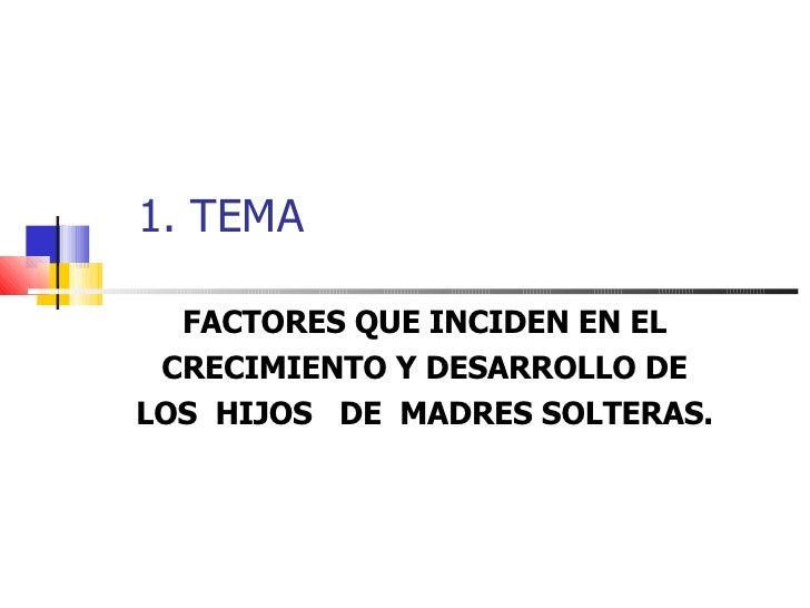 1. TEMA FACTORES QUE INCIDEN EN EL CRECIMIENTO Y DESARROLLO DE LOS  HIJOS  DE  MADRES SOLTERAS.