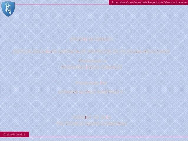 Especialización en Gerencia de Proyectos de Telecomunicaciones Opción de Grado 1
