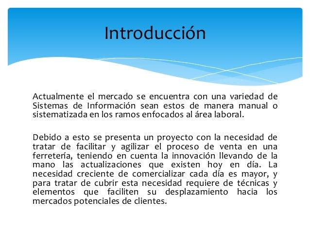 Planificacion y modelado para una ferreteria Slide 2