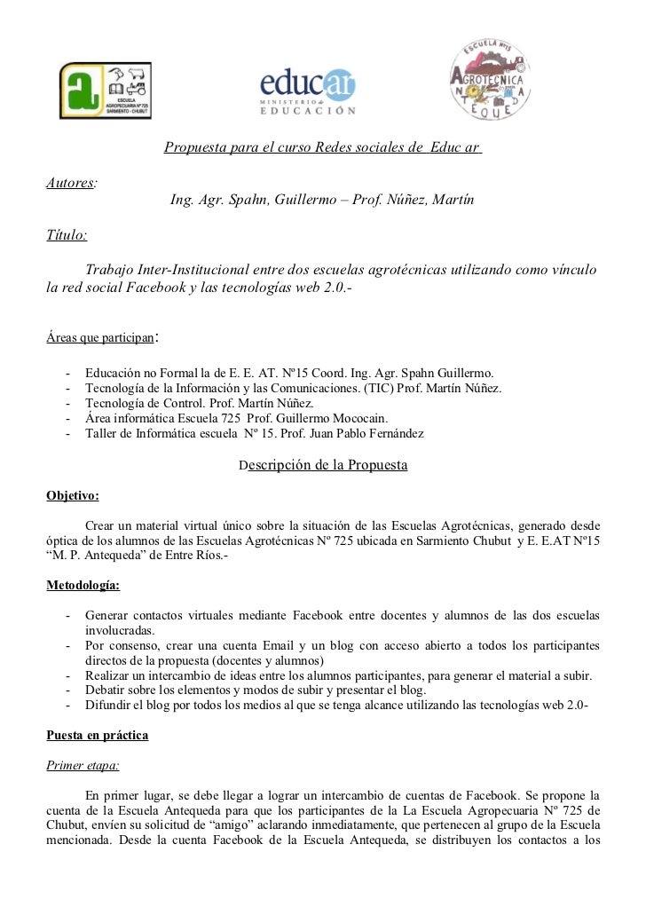 Propuesta para el curso Redes sociales de Educ arAutores:                        Ing. Agr. Spahn, Guillermo – Prof. Núñez,...