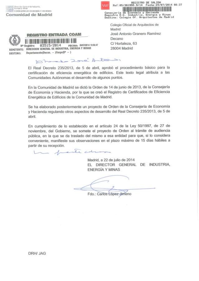 Proyecto regulaci n certificado energ tico comunidad de madrid for Correo comunidad de madrid