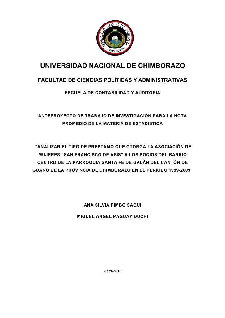 UNIVERSIDAD NACIONAL DE CHIMBORAZO    FACULTAD DE CIENCIAS POLÍTICAS Y ADMINISTRATIVAS              ESCUELA DE CONTABILIDA...