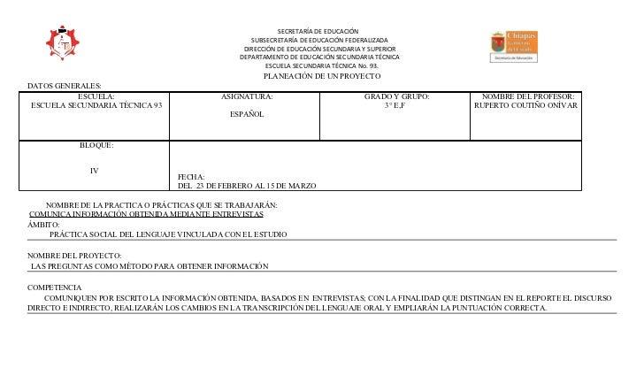 SECRETARÍA DE EDUCACIÓN                                                   SUBSECRETARÍA DE EDUCACIÓN FEDERALIZADA         ...