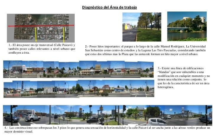 Diagnóstico del Área de trabajo   1.- El área posee un eje transversal (Calle Paicaví) y      2.- Posee hitos importantes:...