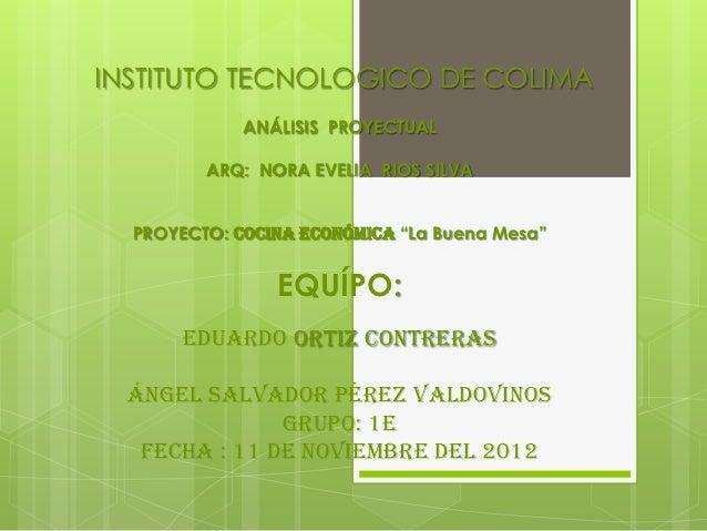 INSTITUTO TECNOLOGICO DE COLIMA             ANÁLISIS PROYECTUAL         ARQ: NORA EVELIA RIOS SILVA  PROYECTO: cocina econ...