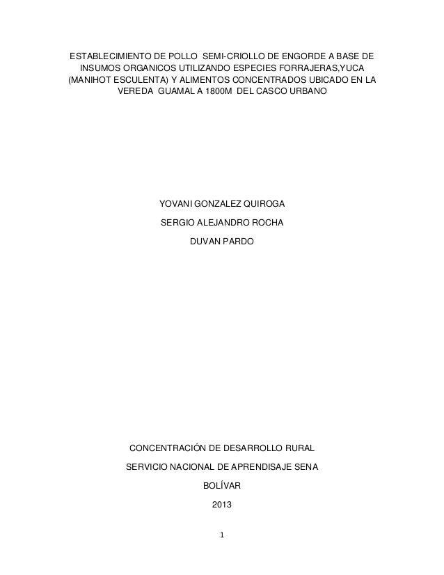 ESTABLECIMIENTO DE POLLO SEMI-CRIOLLO DE ENGORDE A BASE DE INSUMOS ORGANICOS UTILIZANDO ESPECIES FORRAJERAS,YUCA (MANIHOT ...