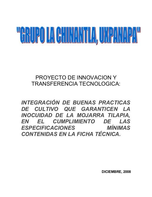 PROYECTO DE INNOVACION Y   TRANSFERENCIA TECNOLOGICA:INTEGRACIÓN DE BUENAS PRACTICASDE CULTIVO QUE GARANTICEN LAINOCUIDAD ...