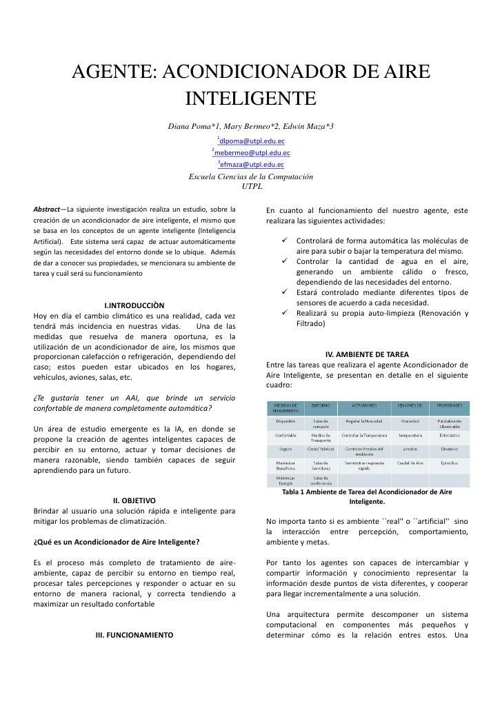 AGENTE: ACONDICIONADOR DE AIRE                       INTELIGENTE                                           Diana Poma*1, M...