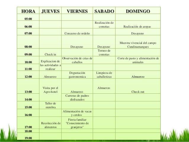 HORA JUEVES VIERNES SABADO DOMINGO 05:00 06:00 Realización de cometas Realización de arepas 07:00 Concurso de ordeño Desay...