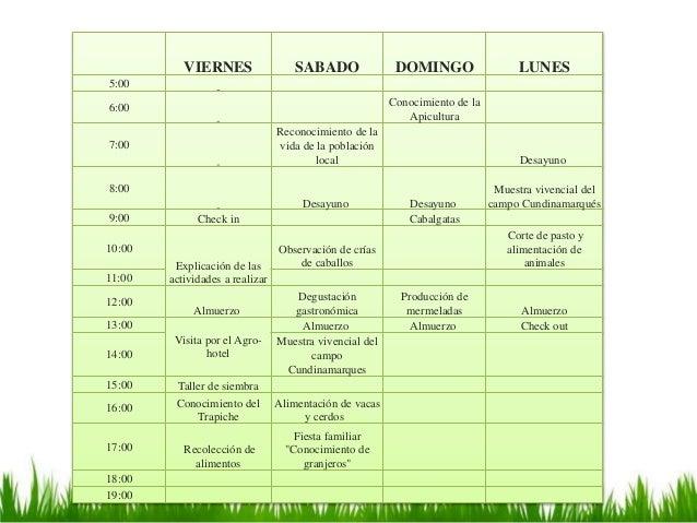 VIERNES SABADO DOMINGO LUNES 5:00 6:00 Conocimiento de la Apicultura 7:00 Reconocimiento de la vida de la población local ...