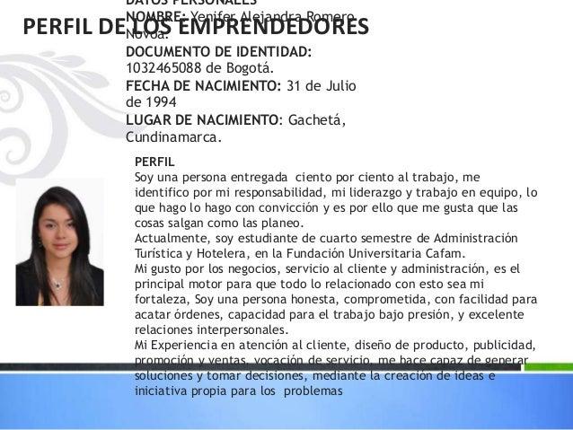 DATOS PERSONALES NOMBRE: Yenifer Alejandra Romero Novoa. DOCUMENTO DE IDENTIDAD: 1032465088 de Bogotá. FECHA DE NACIMIENTO...