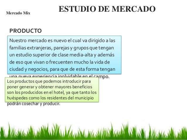 ESTUDIO DE MERCADOMercado Mix Nuestro mercado es nuevo el cual va dirigido a las familias extranjeras, parejas y grupos qu...