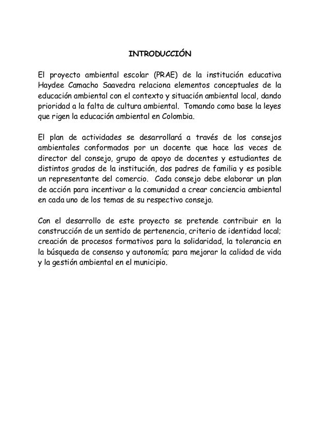 Proyecto ambiental escolar prae proyecto marco institucional for Proyecto de cafeteria escolar