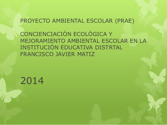 PROYECTO AMBIENTAL ESCOLAR (PRAE)  CONCIENCIACIÓN ECOLÓGICA Y  MEJORAMIENTO AMBIENTAL ESCOLAR EN LA  INSTITUCIÓN EDUCATIVA...