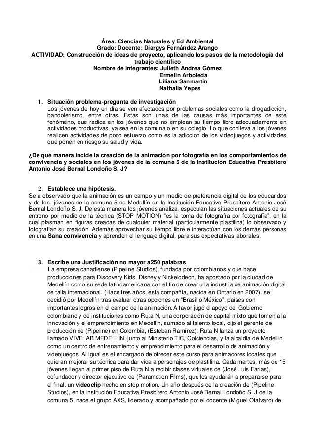 Área: Ciencias Naturales y Ed Ambiental Grado: Docente: Diargys Fernández Arango ACTIVIDAD: Construcción de ideas de proye...
