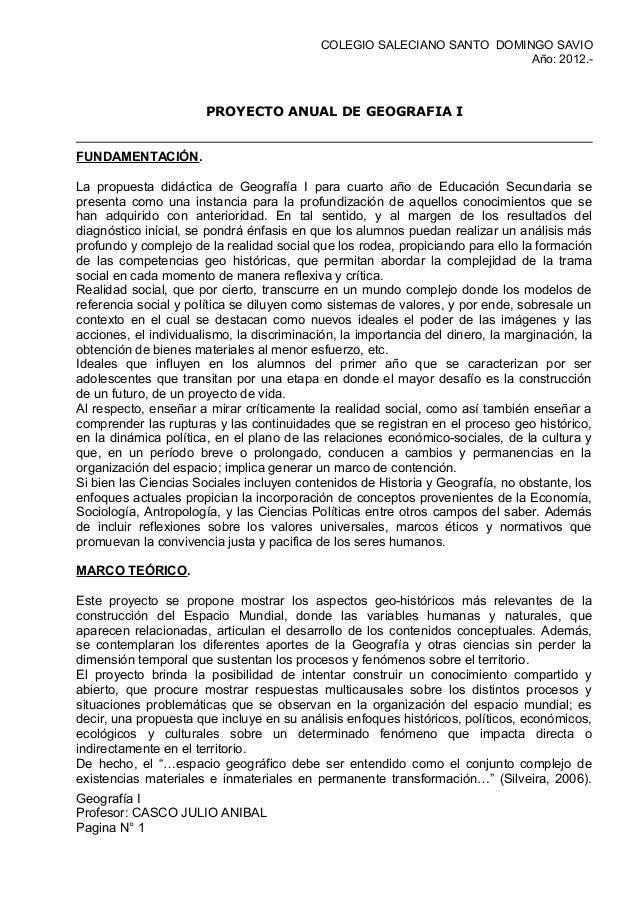 COLEGIO SALECIANO SANTO DOMINGO SAVIO                                                                         Año: 2012.- ...