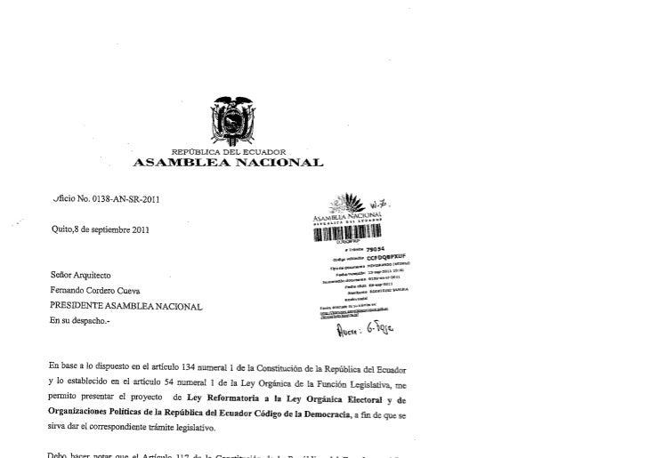 Proyecto de Ley Reforma al Código de la Democracia_Asambleísta Rodríguez