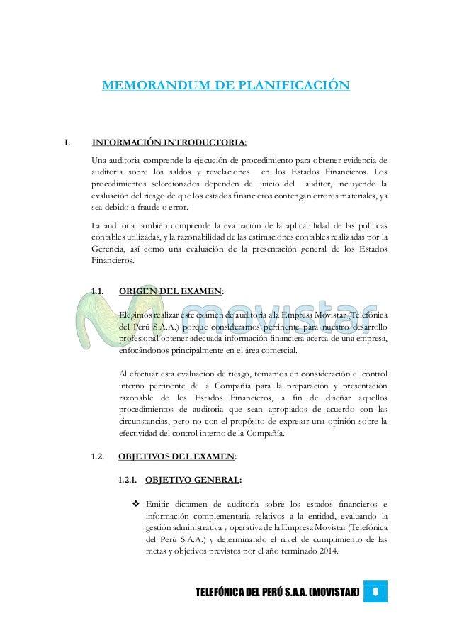 Auditoría Financiera - Planificación, Memorándum y Programa de Audito…