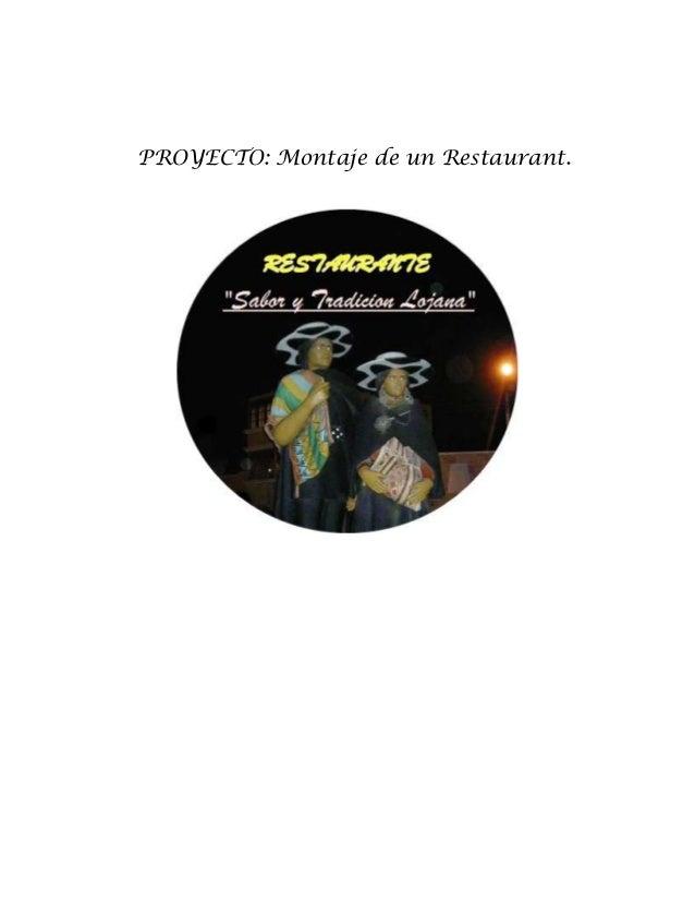 PROYECTO: Montaje de un Restaurant.