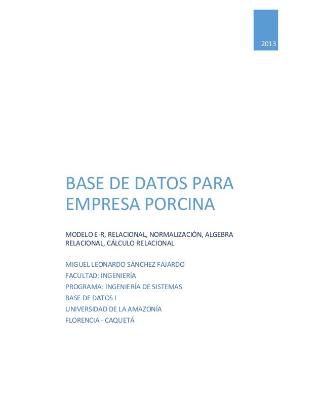 2013  BASE DE DATOS PARA EMPRESA PORCINA MODELO E-R, RELACIONAL, NORMALIZACIÓN, ALGEBRA RELACIONAL, CÁLCULO RELACIONAL MIG...