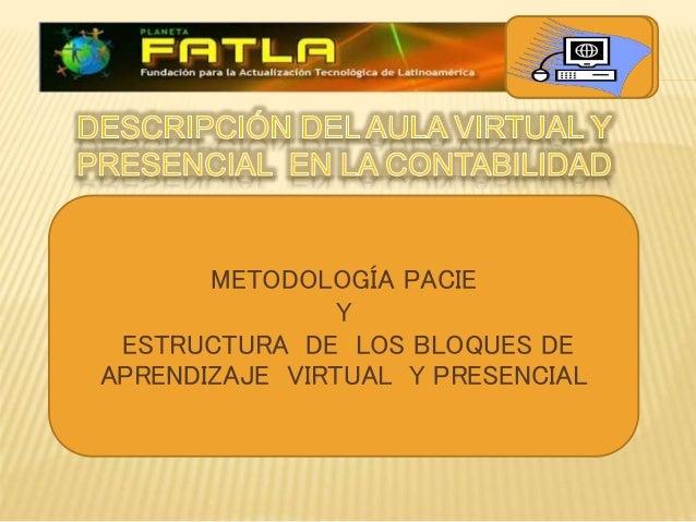  METODOLOGÍA PACIE Y ESTRUCTURA DE LOS BLOQUES DE APRENDIZAJE VIRTUAL Y PRESENCIAL