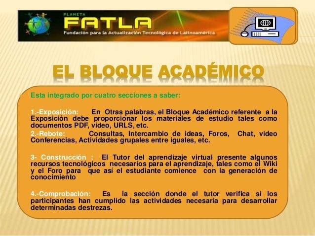 EL BLOQUE ACADÉMICO  Esta integrado por cuatro secciones a saber:  1.-Exposición: En Otras palabras, el Bloque Académico...
