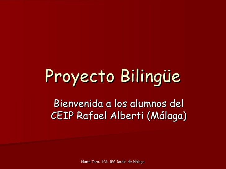 Proyecto Bilingüe <ul><ul><li>Bienvenida a los alumnos del CEIP Rafael Alberti (Málaga) </li></ul></ul>