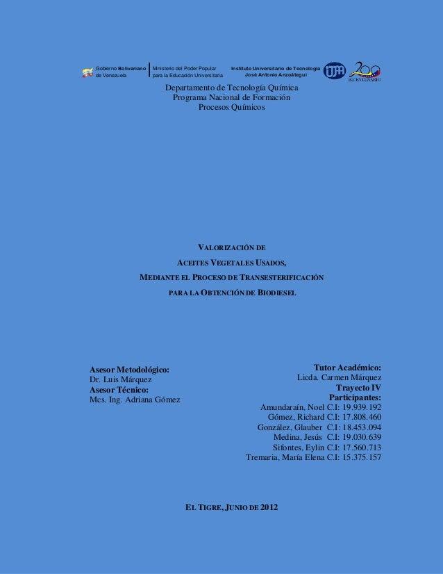 Gobierno Bolivariano   Ministerio del Poder Popular      Instituto Universitario de Tecnología de Venezuela           para...