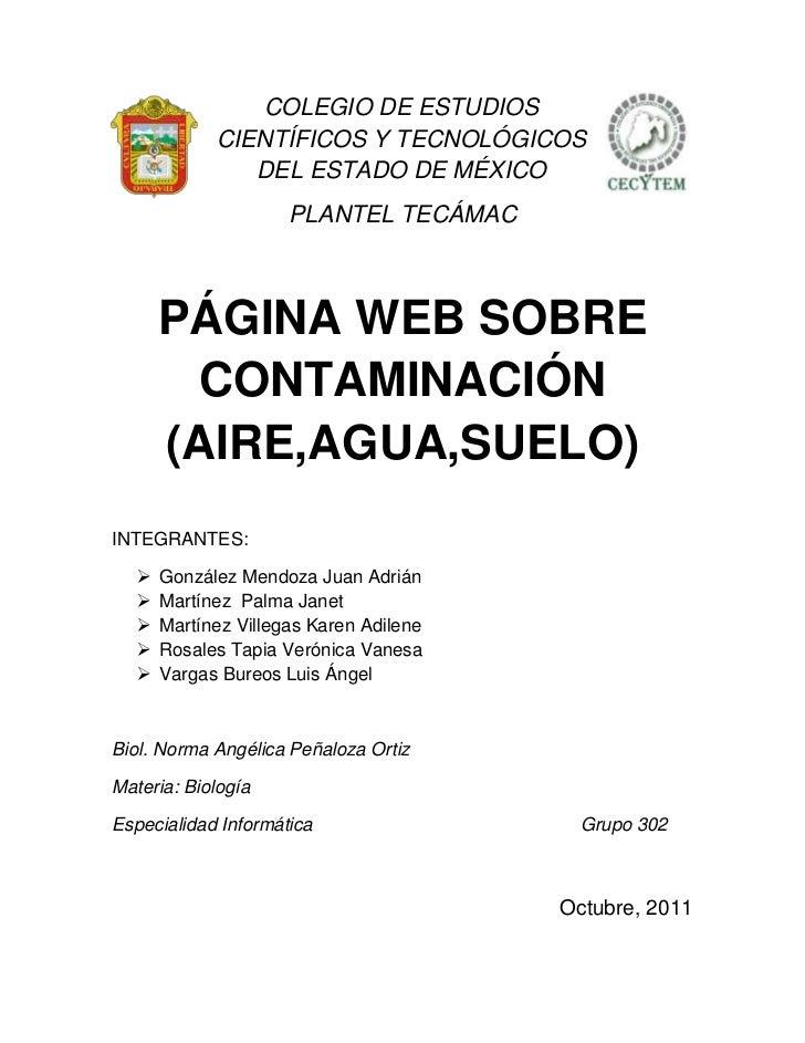 COLEGIO DE ESTUDIOS            CIENTÍFICOS Y TECNOLÓGICOS               DEL ESTADO DE MÉXICO                     PLANTEL T...
