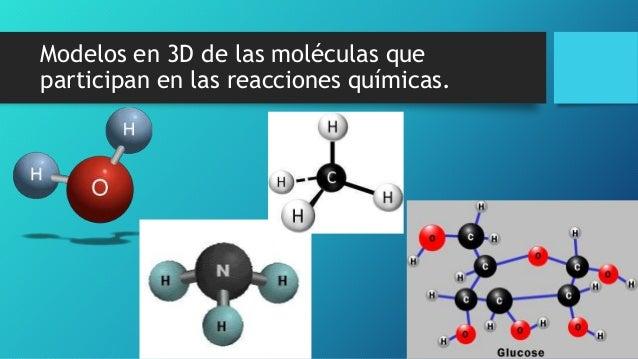 Modelos en 3D de las moléculas que participan en las reacciones químicas.