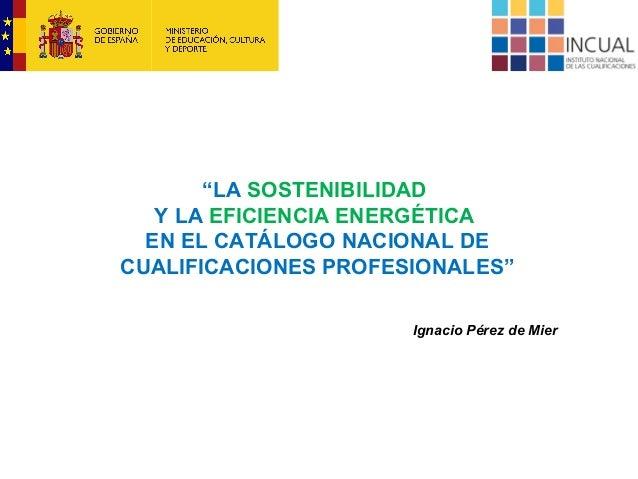 """""""LA SOSTENIBILIDAD Y LA EFICIENCIA ENERGÉTICA EN EL CATÁLOGO NACIONAL DE CUALIFICACIONES PROFESIONALES"""" Ignacio Pérez de M..."""