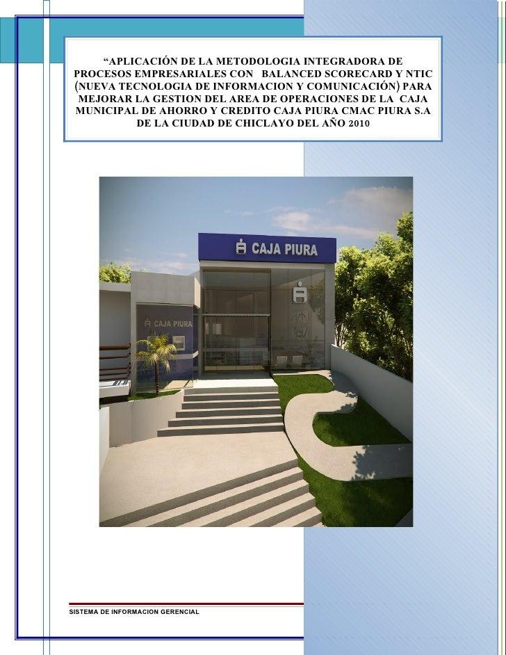 """""""APLICACIÓN DE LA METODOLOGIA INTEGRADORA DE  PROCESOS EMPRESARIALES CON BALANCED SCORECARD Y NTIC  (NUEVA TECNOLOGIA DE I..."""