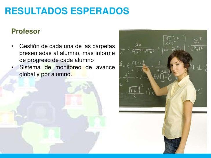 RESULTADOS ESPERADOS Profesor •   Gestión de cada una de las carpetas     presentadas al alumno, más informe     de progre...