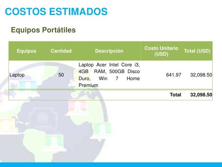 COSTOS ESTIMADOSEquipos Portátiles                                                    Costo Unitario  Equipos   Cantidad  ...