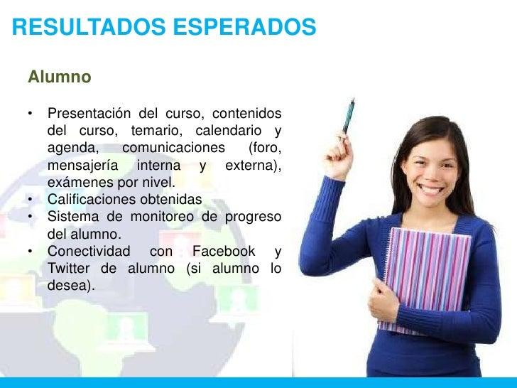 RESULTADOS ESPERADOS Alumno •   Presentación del curso, contenidos     del curso, temario, calendario y     agenda,     co...